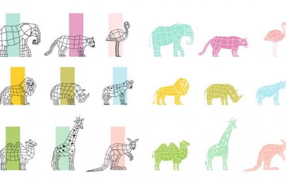 线条多边形色块组成的大象狮子袋鼠长颈鹿等动物剪影图片免抠素材