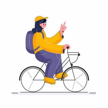扁平插画风格骑自行车的卡通黄衣女孩png图片免抠矢量素材