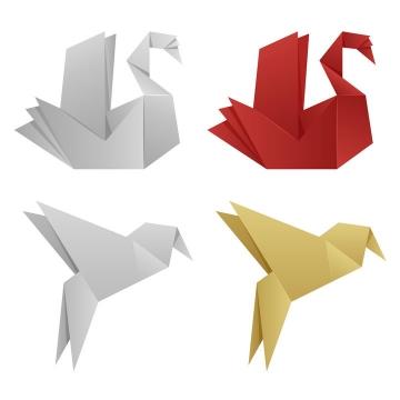 两种不同风格的折纸风格天鹅和小鸟图片免抠素材
