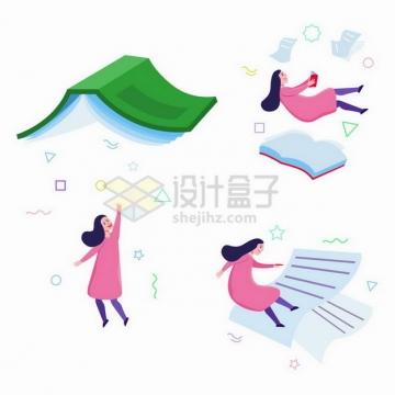 扁平插画风格和书本试卷一起飞行的卡通女孩png图片免抠矢量素材