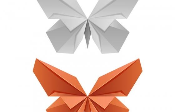 两种不同风格的折纸风格蝴蝶图片免抠素材
