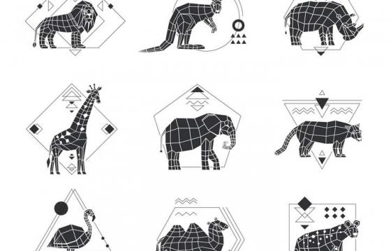 多边形组成的狮子袋鼠犀牛长颈鹿等动物剪影图片免抠素材