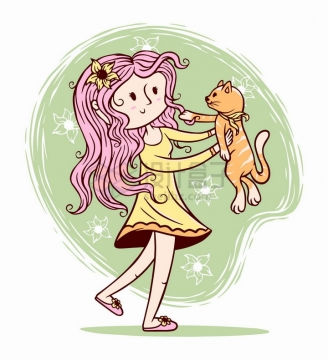可爱卡通女孩抱着猫咪手绘插画png图片免抠矢量素材