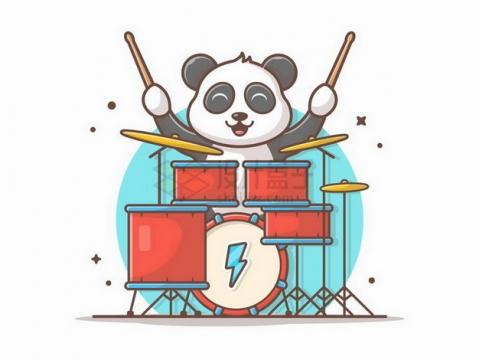 MBE风格正在玩架子鼓的卡通熊猫png图片免抠矢量素材