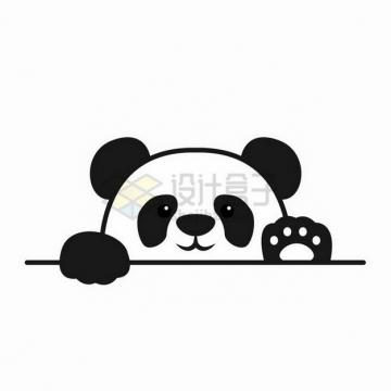 趴着偷窥你的卡通熊猫png图片免抠矢量素材