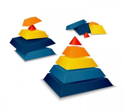 彩色立体分层金字塔图片免抠素材
