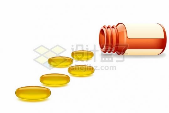 倒掉的药瓶和金黄色的深海鱼油138164png图片素材