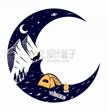 抽象弯弯的月亮组成的高山露营和狼嚎手绘插画png图片免抠矢量素材