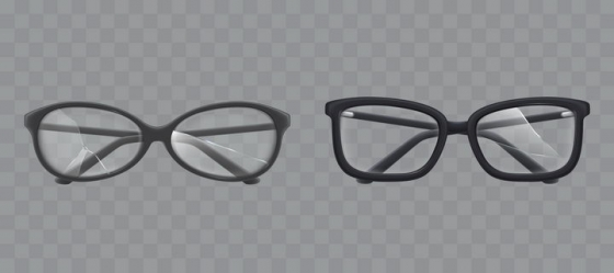 两款玻璃破碎的眼镜图片免抠素材