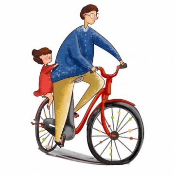 爸爸骑自行车带着女儿父亲节彩绘插画171809png图片素材