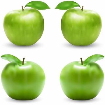 4款不同角度带绿叶的青苹果美味水果png图片免抠EPS矢量素材