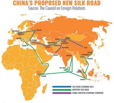 中国一带一路丝绸之路地图图片免抠素材