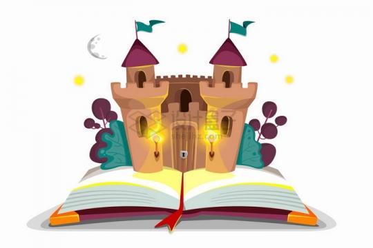 打开书本上的卡通童话城堡png图片免抠矢量素材