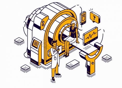 2.5D插画风格医生检查CT机上的患者png图片免抠eps矢量素材