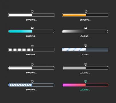 10款各式各样游戏网站加载进度条loading画面设计png图片免抠eps矢量素材