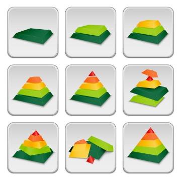 9款适合PPT使用的立体分层金字塔图片免抠素材