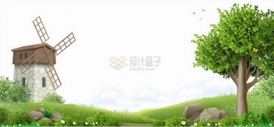 唯美风格春天乡村风景图风车青草地和大树png图片免抠矢量素材