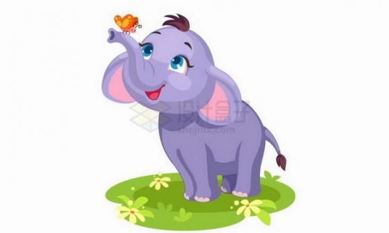 在草地上和蝴蝶嬉戏的卡通小象png图片免抠矢量素材