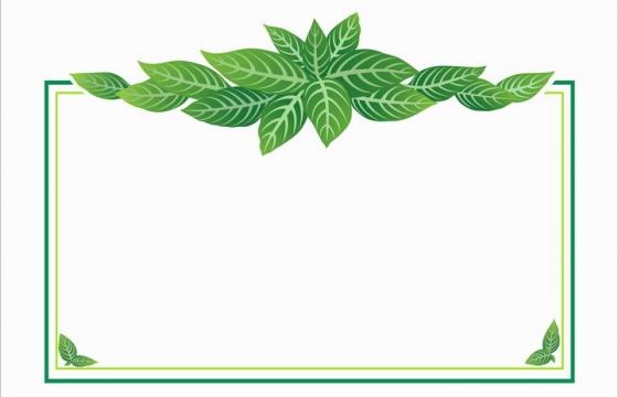 翠绿色树叶装饰的边框方框文本框图片免抠矢量素材