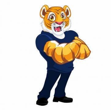 强壮的卡通老虎健身教练图片免抠矢量图
