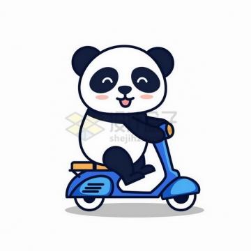 正在骑电动车的卡通熊猫png图片免抠矢量素材