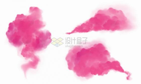 3种红色的烟雾粉尘或粉末png图片免抠eps矢量素材