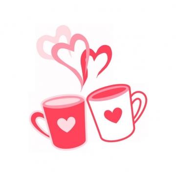 红色爱心线条杯子情人节插画204994png图片素材