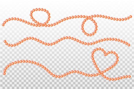 橙色珍珠串联的珍珠项链线条图片免抠矢量素材