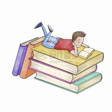 彩绘世界读书日趴在书本上看书的男孩png图片免抠矢量素材