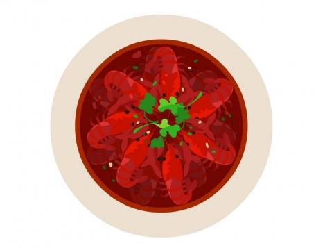俯视视角的一碗手绘风格麻辣小龙虾美食图片免抠素材
