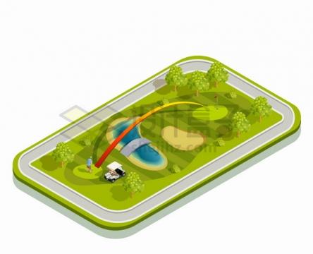 2.5D风格手机上的高尔夫球场体育运动场png图片素材