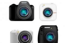 4款不同造型的数码单反照相机png图片免抠矢量素材