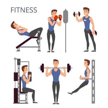 卡通风格使用各种健身器材健身的男人图片免抠素材