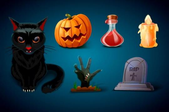 卡通风格黑猫南瓜灯毒药蜡烛僵尸墓碑等万圣节物品图片免抠矢量素材