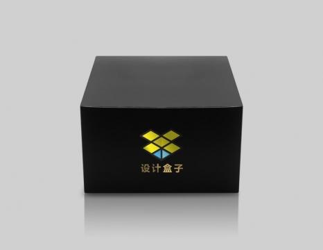 黑色包装盒前视图顶视图样机图片设计模板素材