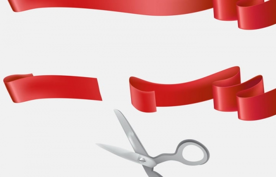 红色丝带剪刀开业剪彩图片免抠矢量素材