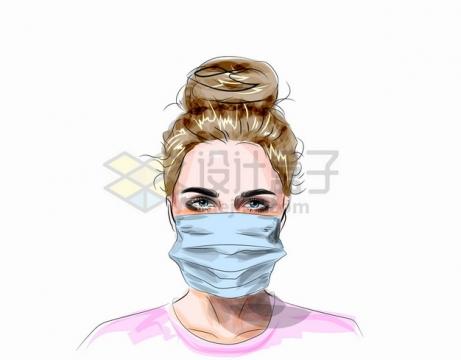 戴着口罩的美女彩绘插画png图片素材