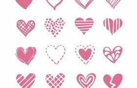 16款玫红色手绘风格情人节红心爱心心形符号图案png图片免抠eps矢量素材