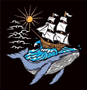 抽象鲸鱼背上大海中的帆船手绘插画png图片免抠矢量素材