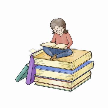 彩绘世界读书日坐在书本上看书的女孩png图片免抠矢量素材