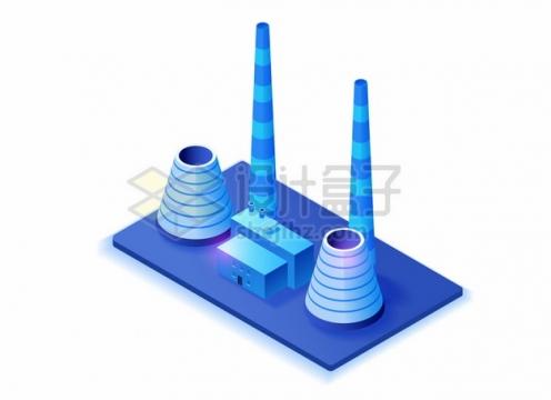 2.5D风格紫色工厂里的烟囱和冷却塔507328png图片素材