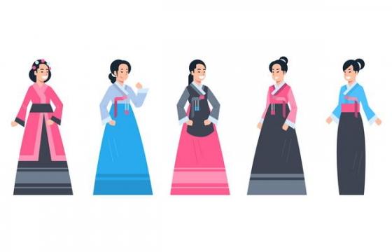 5款朝鲜族韩国女性民族服饰图片免抠素材
