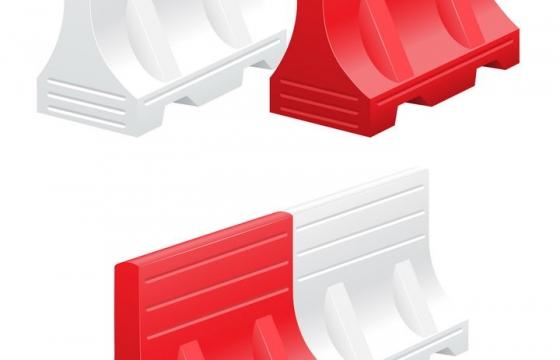 红色和白色的公路隔离墩免抠矢量图片素材