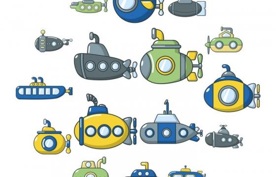 各种可爱的卡通小潜水艇图片免抠素材