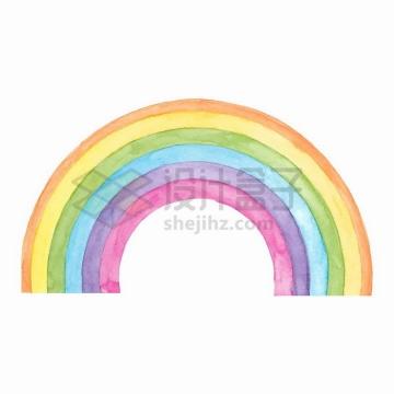 6种颜色的七彩虹水彩画png图片免抠矢量素材
