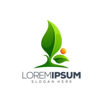 创意发芽的绿色树叶和红色的太阳logo设计方案免抠矢量图素材