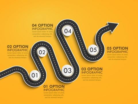 黄色弯曲的立体公路道路步骤图时间轴箭头图片免抠矢量图