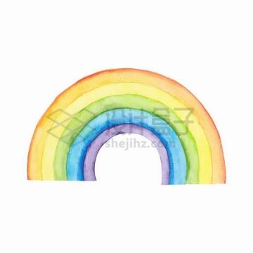 5种颜色的半圆形七彩虹水彩画png图片免抠矢量素材