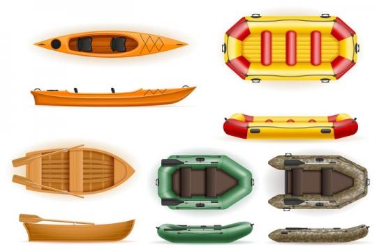 各种各样的皮划艇小木船充气船免抠矢量图片素材