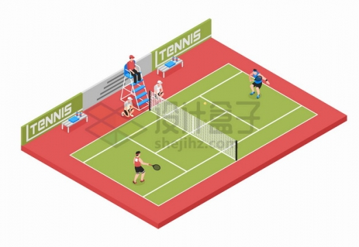 2.5D风格网球运动场体育馆png图片素材